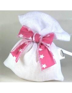 Sacchetto stoffa Bianco medio con fiocco rosa