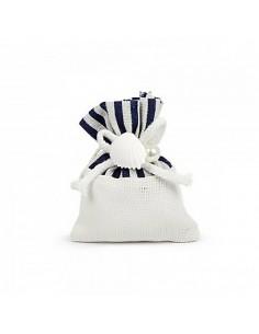 Sacchetto bomboniera linea mare bianco e blu con applicazione conchiglia - Bomboniere Shop Store