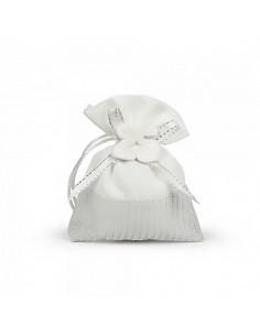Sacchetti bomboniera bianco e argento con applicazione nozze d'argento - Bomboniere Shop Store