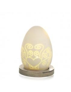 Uovo porcellana bisquit con led su base legno cm 9.2 - Bomboniere Shop Store
