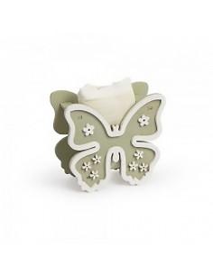 Portaconfetti Legno Farfalla Con Sacchetto Fango - Bomboniere Shop Store