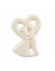 Bomboniera magnete Sposi con Cuore In Ceramica