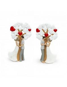 Bomboniera albero della vita medio con cuori e innamorati