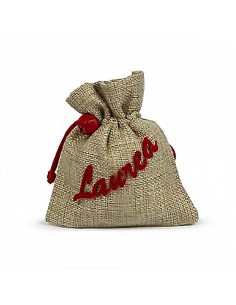 Sacchetto portaconfetti in juta con scritta laurea e con campanello rosso - Bomboniere Shop Store