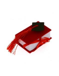 Bomboniera Libro Rosso Laurea con cappello Tocco nero