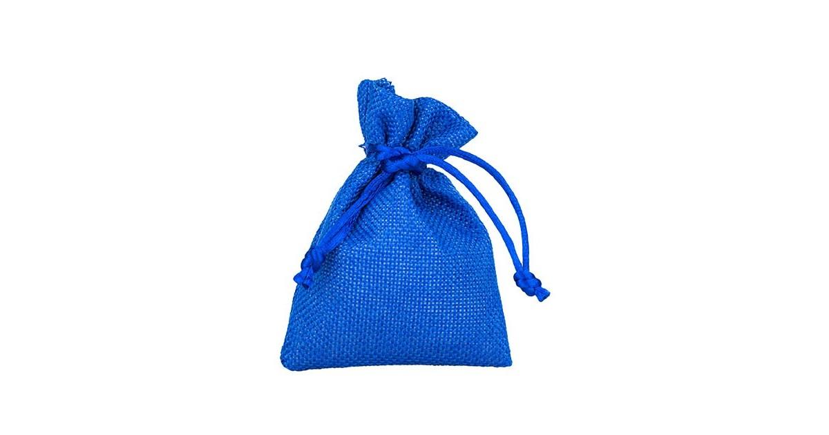 Sacchetto bomboniera in stoffa blu con tirante