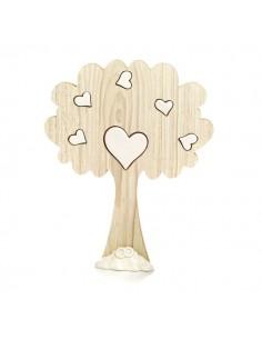Bomboniera Albero legno con cuoricini bianchi porcellana