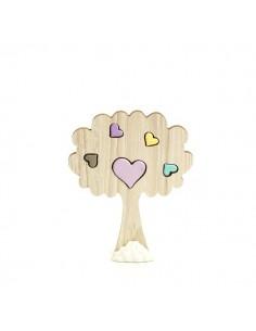 Albero legno con cuoricini colorati in porcellana - Bomboniere Shop Store