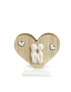 Cuore legno INNAMORATI in porcellana piccolo BomboniereShopStore