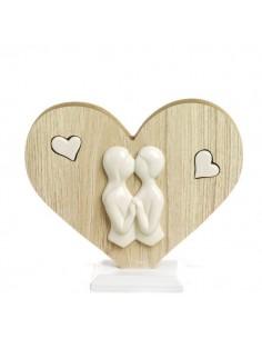 Cuore legno INNAMORATI in porcellana BomboniereShopStore