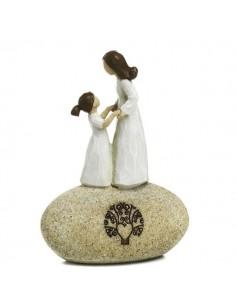 Bomboniera madre e figlia stilizzato su roccia Mandorle
