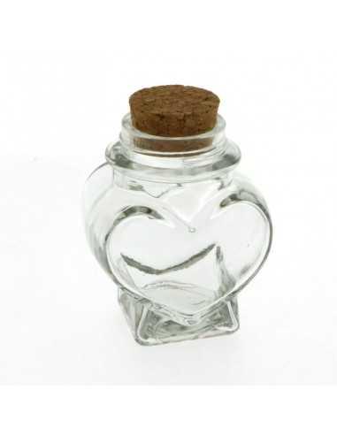 Barattolino Portaconfetti Cuore in vetro con tappo in sughero - Bomboniere Shop Store