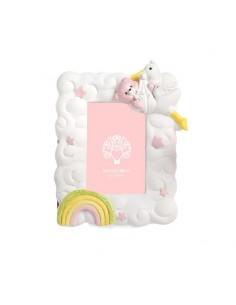 Bomboniera portafoto cicogna con baby orso rosa