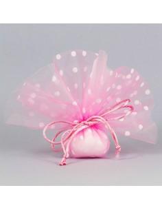 Fazzoletto portaconfetti a pois con tirante rosa