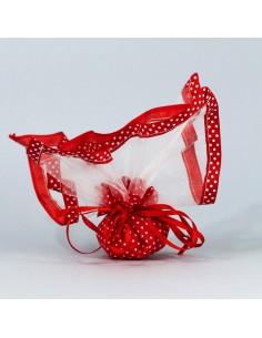 Fazzoletto portaconfetti bordino pois con tirante rosso