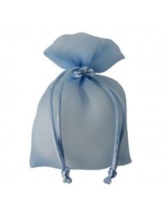 Sacchetto con tirante stoffa lucida celeste - Bomboniere Shop Store