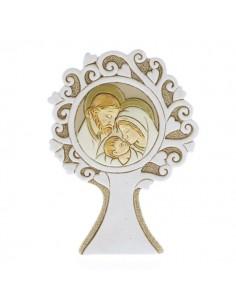 Bomboniera albero della vita rotondo con sacra famiglia