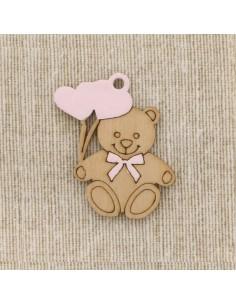 Applicazione bomboniera orsetto con cuoricini rosa (12pz)