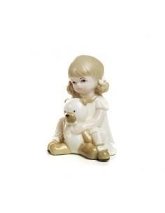 Bomboniera bimba seduta con orsetto in porcellana