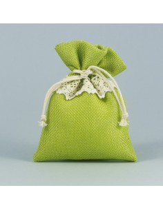 Sacchetto portaconfetti juta verde mela - Bomboniere Shop Store