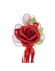 Fiore bomboniere rosso con racchette porta confetti
