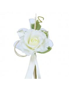 Fiore bomboniere panna con racchette porta confetti