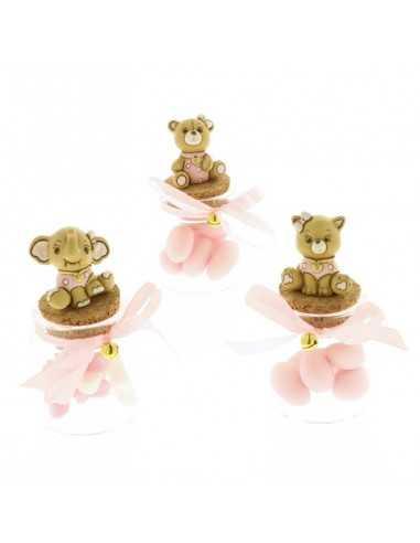 Barattolo portaconfetti con tappo in sughero e animaletti in resina rosa - Bomboniere Shop Store