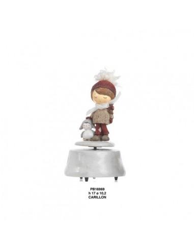 Bimba resina con pinguino su carillon BomboniereShopStore