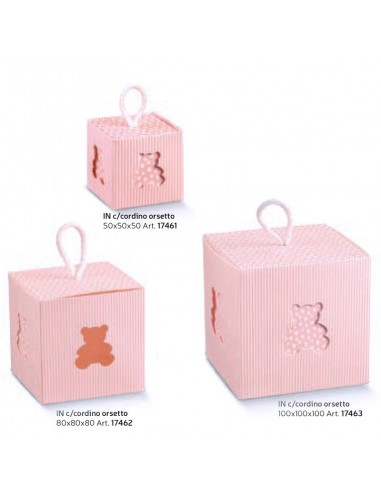 Scatola In con cordino orsetto rosa - Bomboniere Shop Store