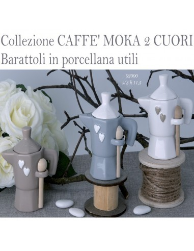 Zuccheriera porcellana CAFFE' MOKA 2 CUORI - Bomboniere Shop Store