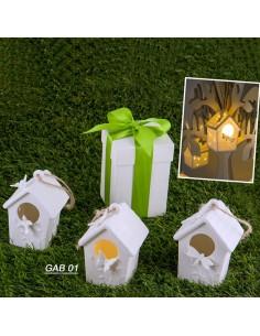 Casetta quadra porcellana con luce led BomboniereShopStore