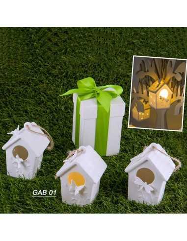 Casetta quadra porcellana con luce led - Bomboniere Shop Store
