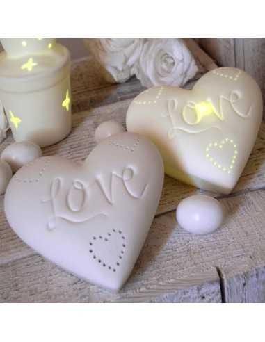Cuore in porcellana con luce led BomboniereShopStore