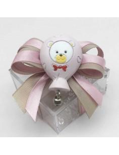 Bomboniera magnete palloncino rosa con orsetto in resina - Bomboniere Shop Store