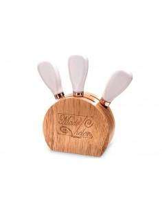 Set Coltelli Formaggio con Portacoltelli in Legno Bomboniere Matrimonio Utili - Bomboniere Shop Store