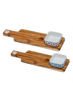 Ciotole sushi decoro maiolica con tagliere legno - Bomboniere Shop Store