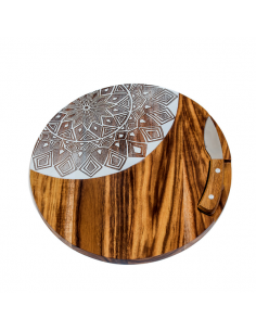Tagliere legno tondo decorato con coltello - Bomboniere Shop Store