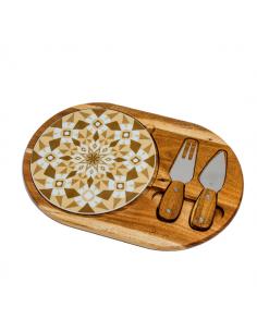 Set tagliere in legno + tagliere ceramica decori maiolica - Bomboniere Shop Store