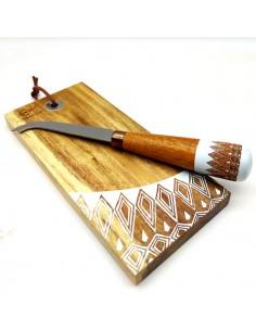 Tagliere di legno con coltello in legno decorato - Bomboniere Shop Store