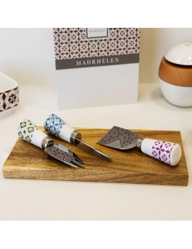 set coltelli formaggio manico ceramica e tagliere legno - Bomboniere Shop Store