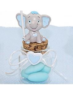 Vasetti Vetro per Confetti Nascita e Battesimo Bimbo con Elefantino - Bomboniere Shop Store