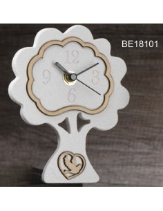 Orologio albero bianco con cuore colomba