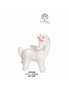 Unicorno in porcellana bianco e rosa