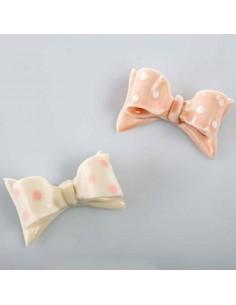 Fiocco rosa e bianco pois con magnete