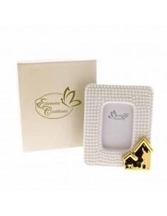 Bomboniera matrimonio portafoto porcellana con casetta gold