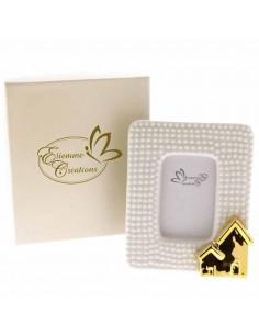 Bomboniera portafoto grande con casetta dorata con scatola